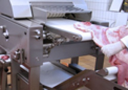 Slicing of meat plates